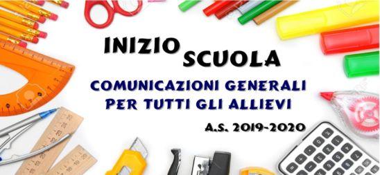 AVVIO ANNO SC. 2019/20: Scuole Medie e Superiori