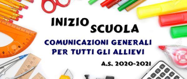 AVVIO ANNO SC. 2020/21: Scuole Medie e Superiori